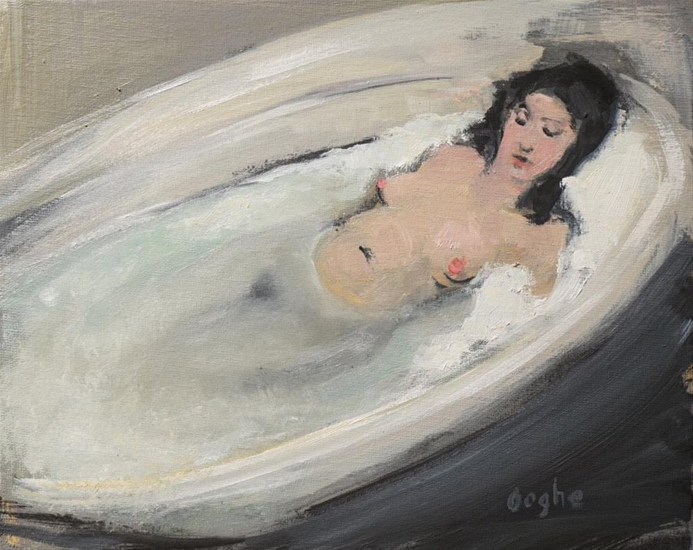 """Woman Relaxing in Bath"" original fine art by Angela Ooghe"