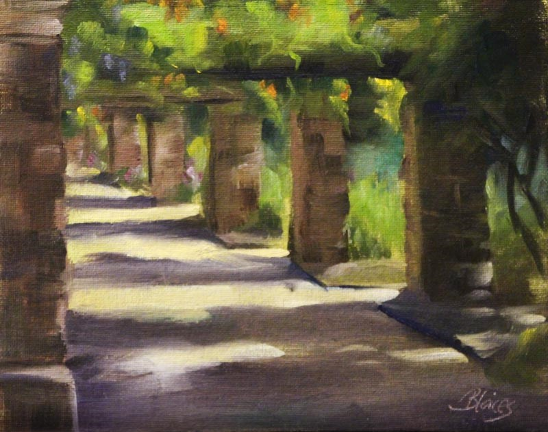 """Garden Path Plein Air"" original fine art by Pamela Blaies"