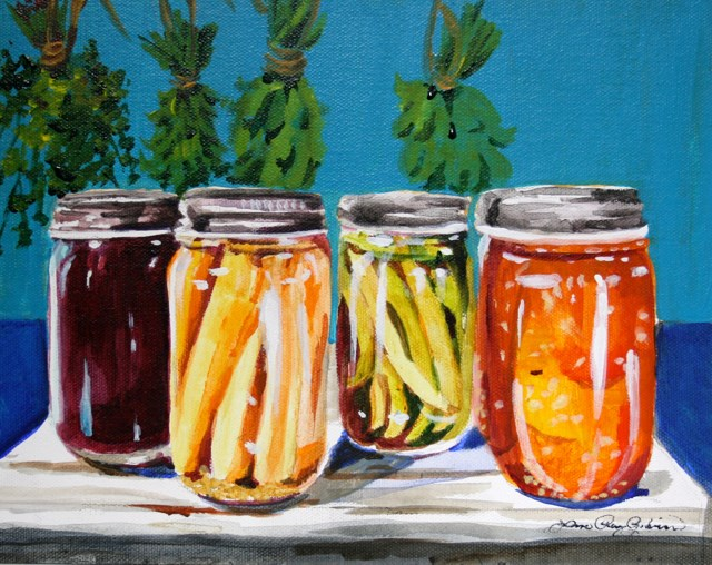 """Herbs and Canning Jars"" original fine art by JoAnne Perez Robinson"