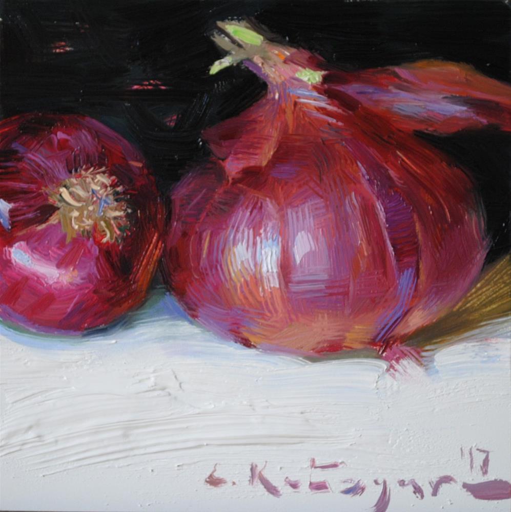 """Red Onions"" original fine art by Elena Katsyura"