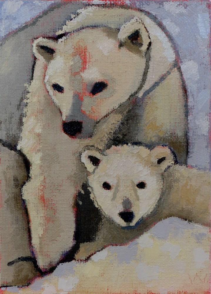 """Polar Bear Madonna"" original fine art by Joan Wiberg"