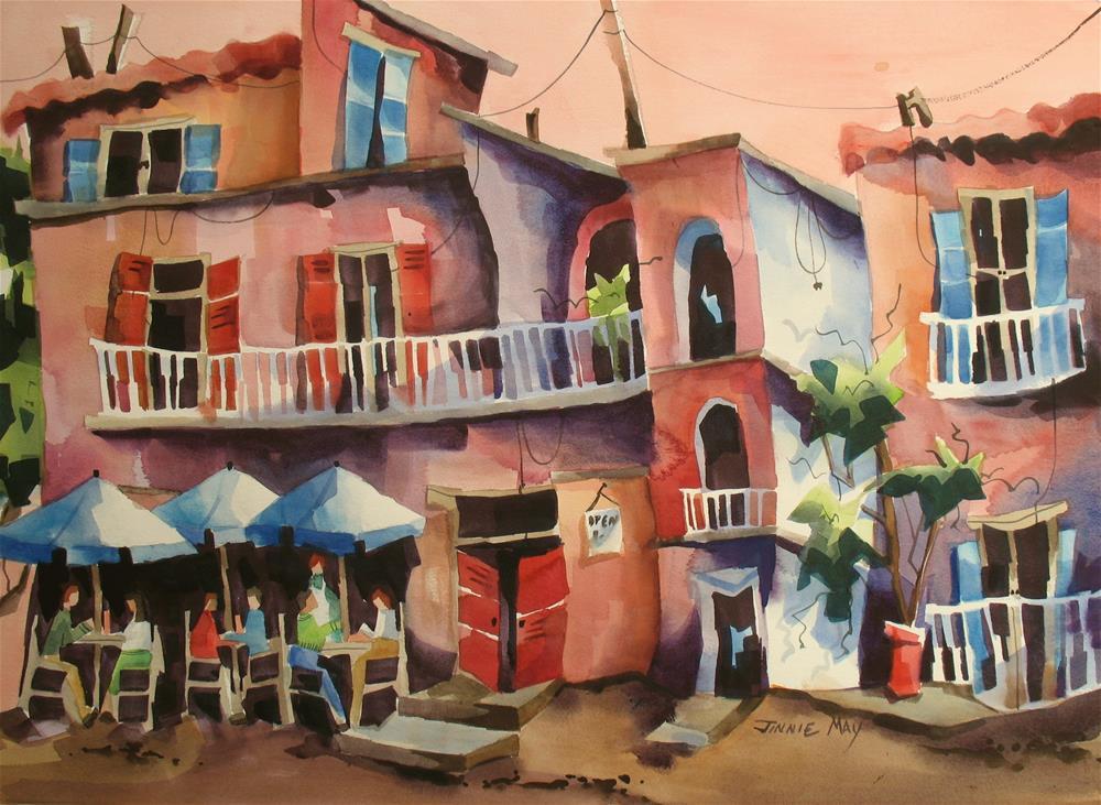 """Cafe La Porte Rouge"" original fine art by Jinnie May"