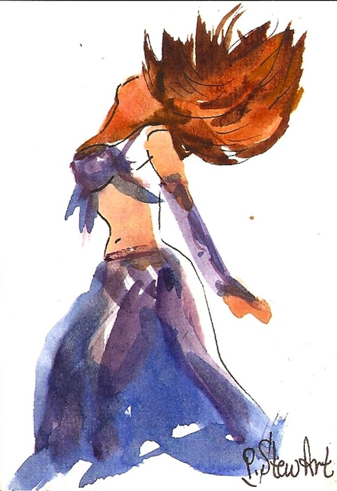 """ACEO Belly Dancer #11 of a Series, Watercolor and pen, Loose Style, Original"" original fine art by Penny Lee StewArt"