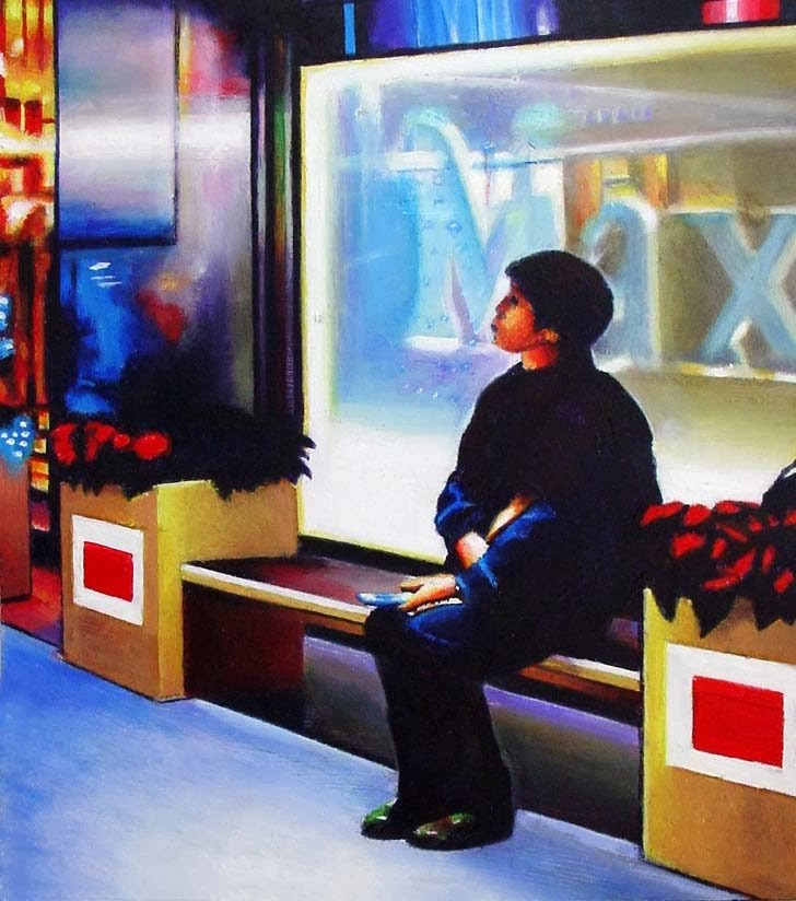"""Max- City Scene Painting Of Figure In Front Of A Store"" original fine art by Gerard Boersma"