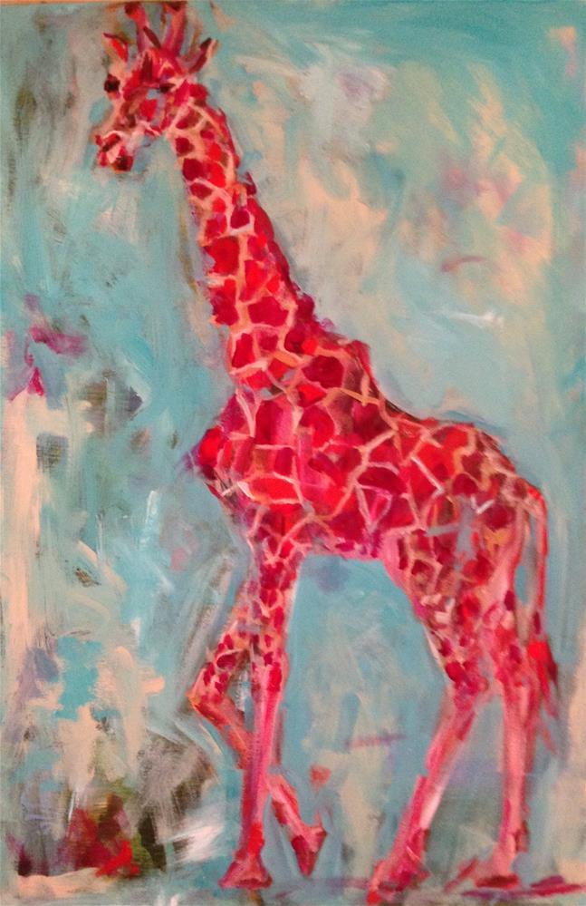 """Pink Giraffe"" original fine art by Molly Wright"