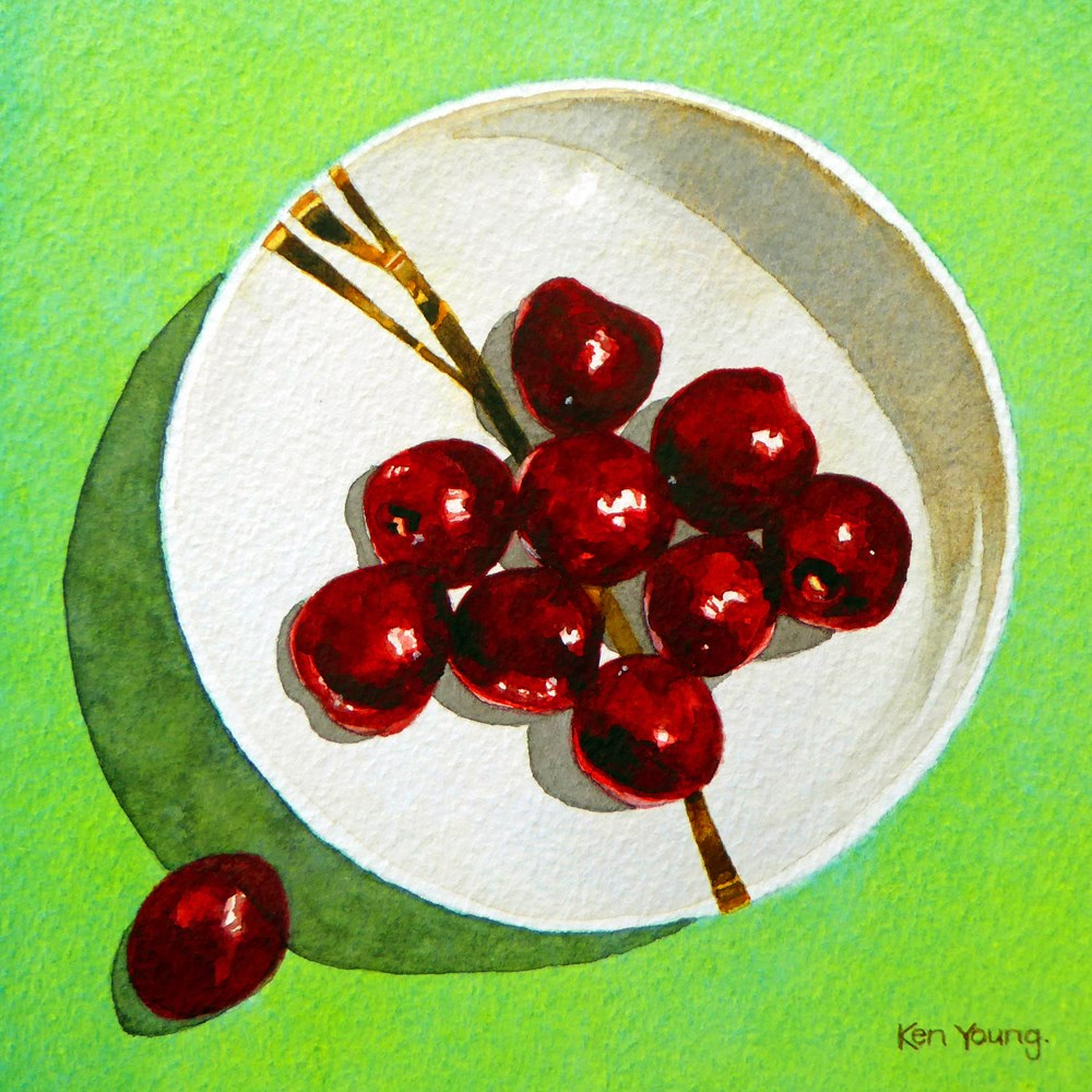 """Bowl Of Cherries"" original fine art by Ken Young"