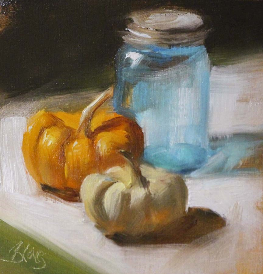 """Princess Pumpkins and a Blue Jar"" original fine art by Pamela Blaies"