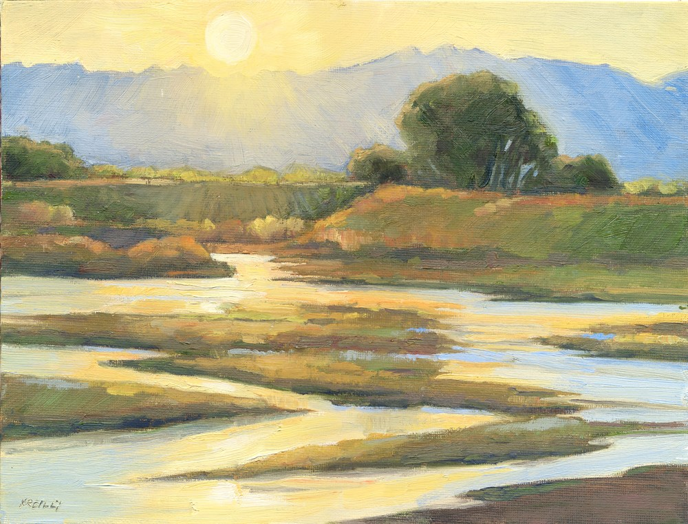 """Sandbar Sunset"" original fine art by Kath Reilly"