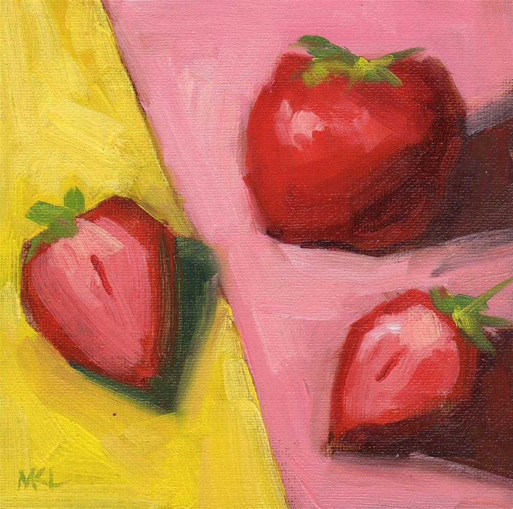 """""""Strawberries on Pink and Yellow"""" original fine art by Marlene Lee"""