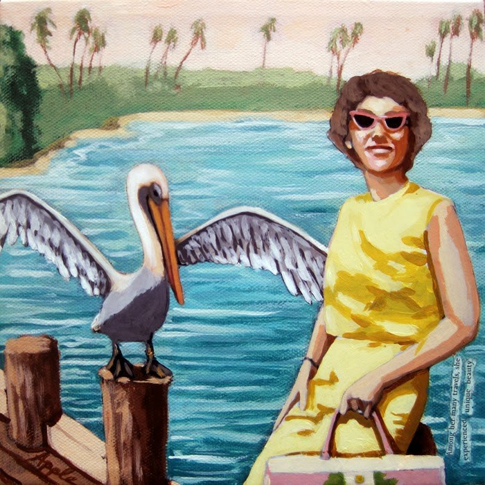 """Pelican Bay Vintage Memories figurative painting"" original fine art by Linda Apple"