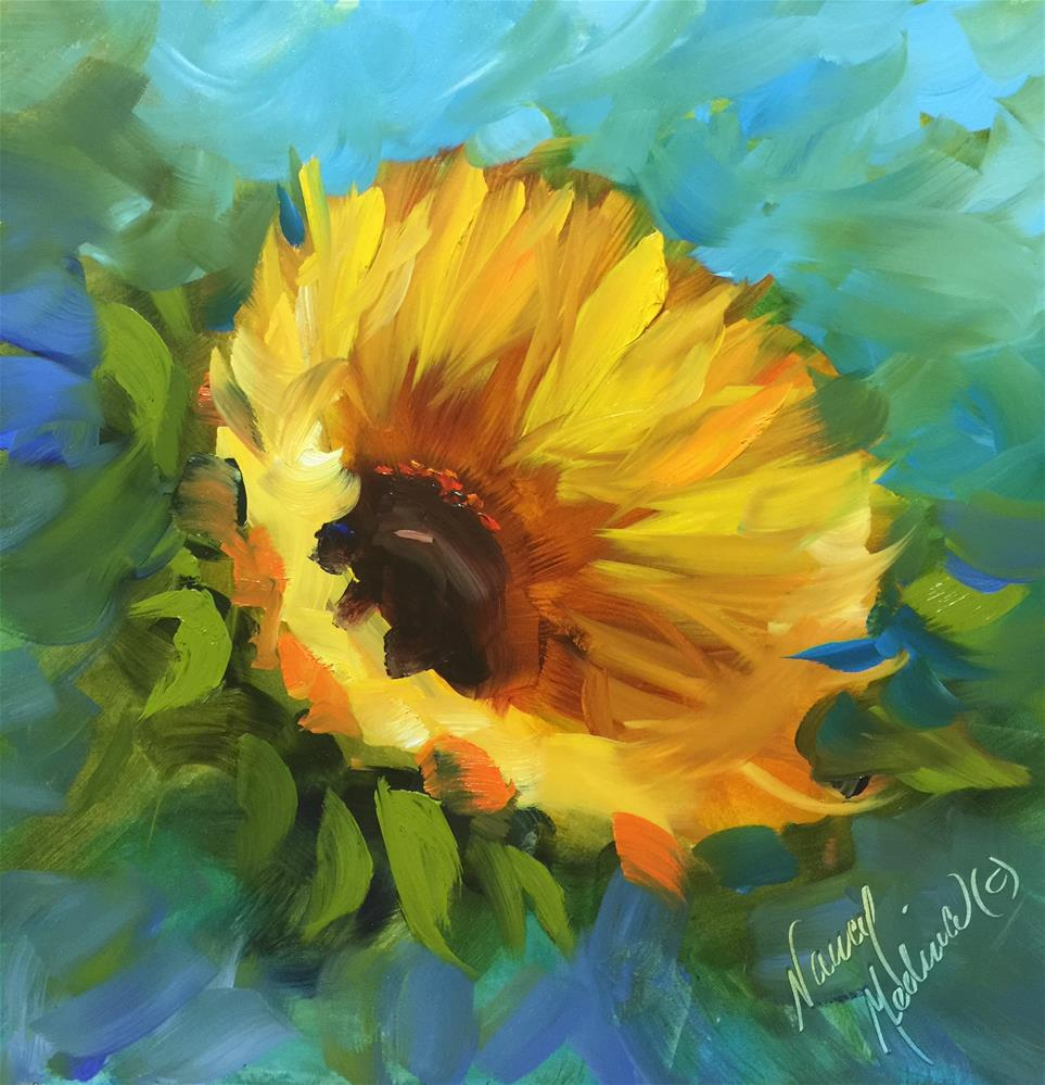 """Keep Smiling Sunflower and a Dallas Demo - Nancy Medina Art Videos and Classes"" original fine art by Nancy Medina"