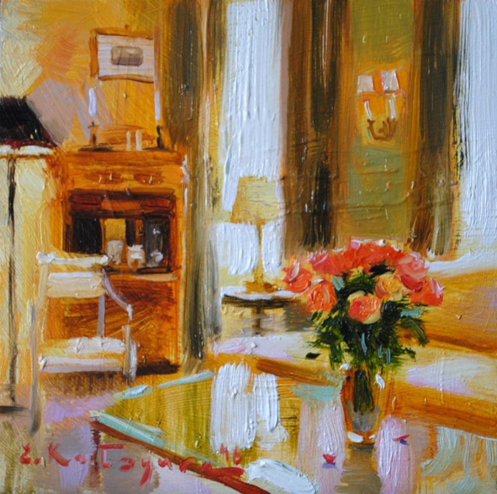 """Roses in The Living Room"" original fine art by Elena Katsyura"