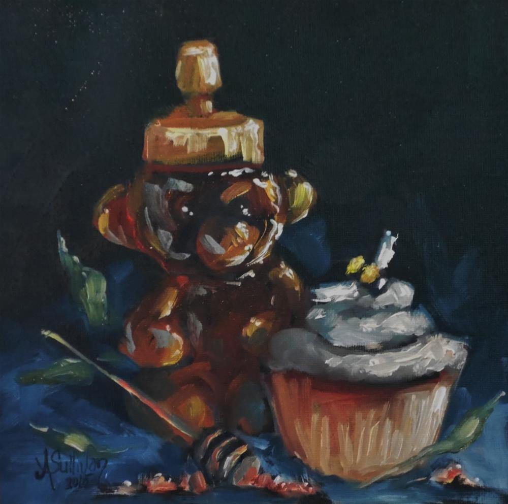 """Honey Bear oil painting by Alabama Artist Angela Sullivan"" original fine art by Angela Sullivan"