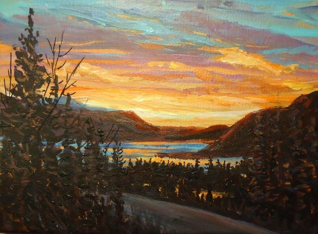 """Sunset, Little Salmon"" original fine art by Jackie Irvine"