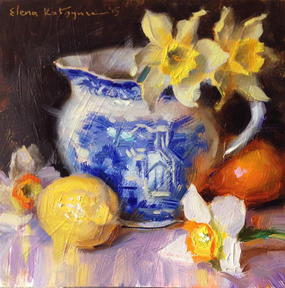 """Citrus, Jug and Daffodils"" original fine art by Elena Katsyura"