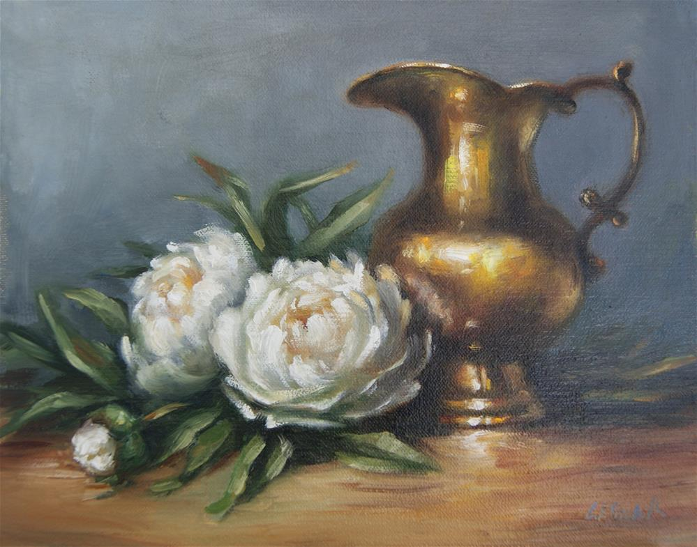 """Still Life with White Peonies and Brass Pitcher,  Oil on 10x8 Linen Panel"" original fine art by Carolina Elizabeth"