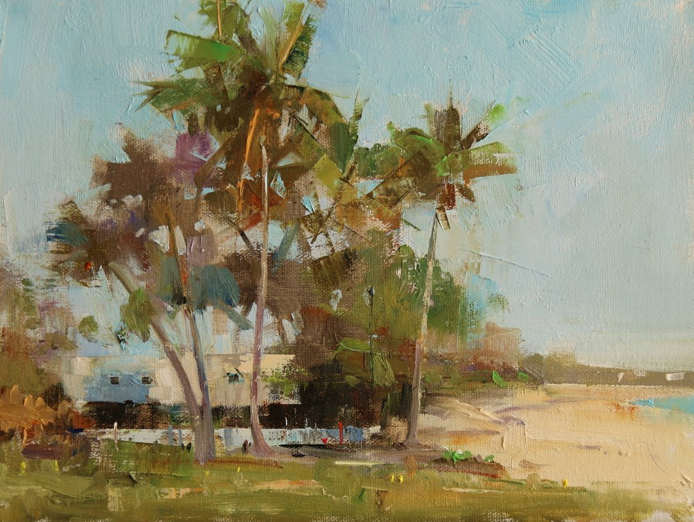"""Coconut Trees in Abaco"" original fine art by Qiang Huang"