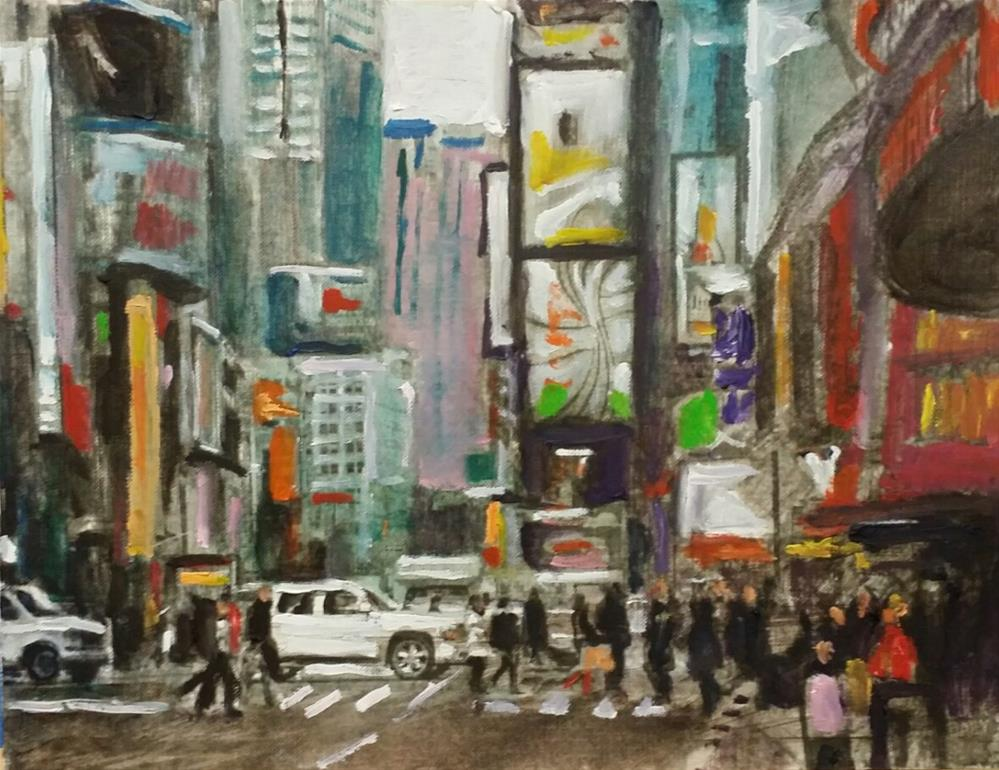 """The City (9 x 12 oil on canvas sheet - no frame)"" original fine art by Ramon DelRosario"