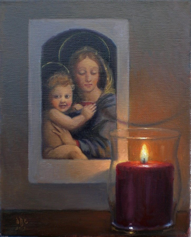 """Madonna and Child with Candle"" original fine art by Debra Becks Cooper"