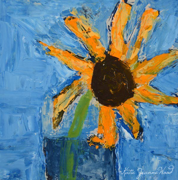 """Yellow sunflower painting No 221"" original fine art by Katie Jeanne Wood"