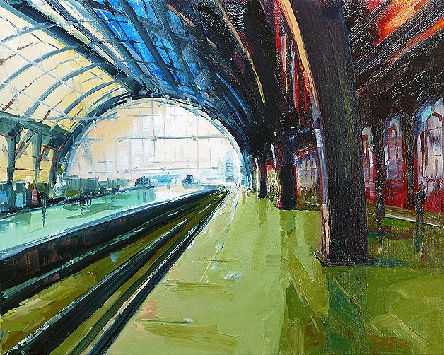 """Antwerp station"" original fine art by Jurij Frey"