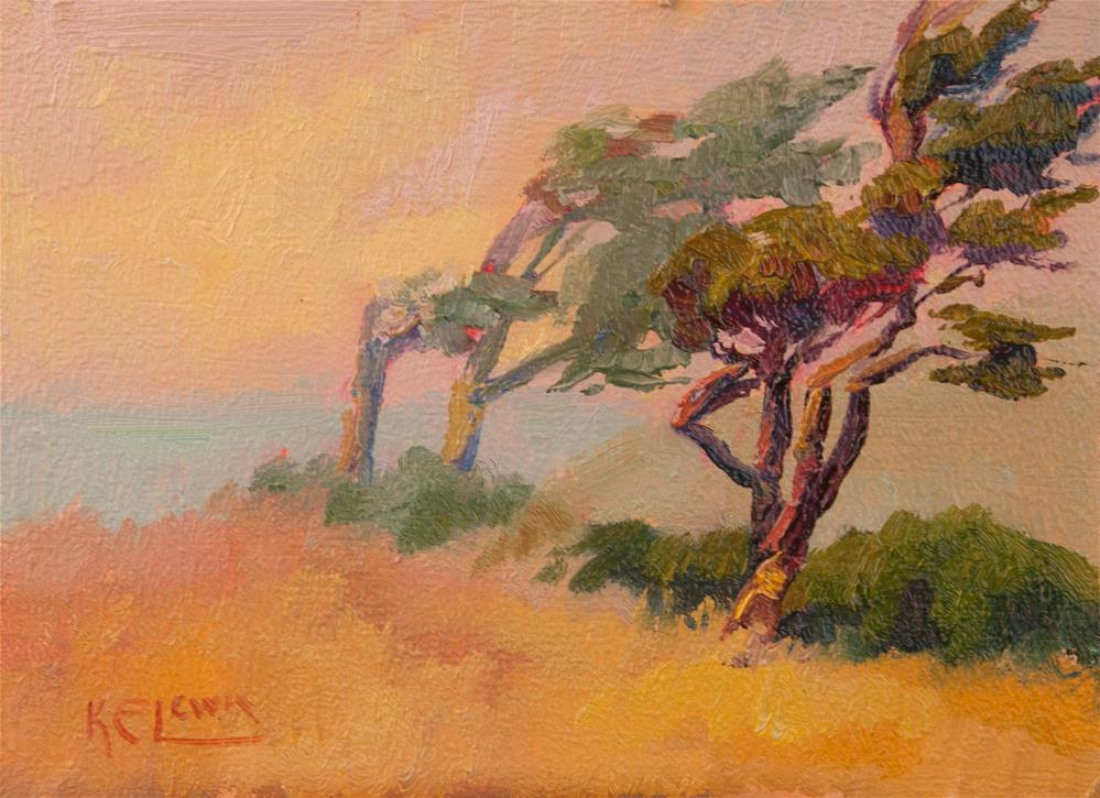 """COAST PINES"" original fine art by Karen E Lewis"