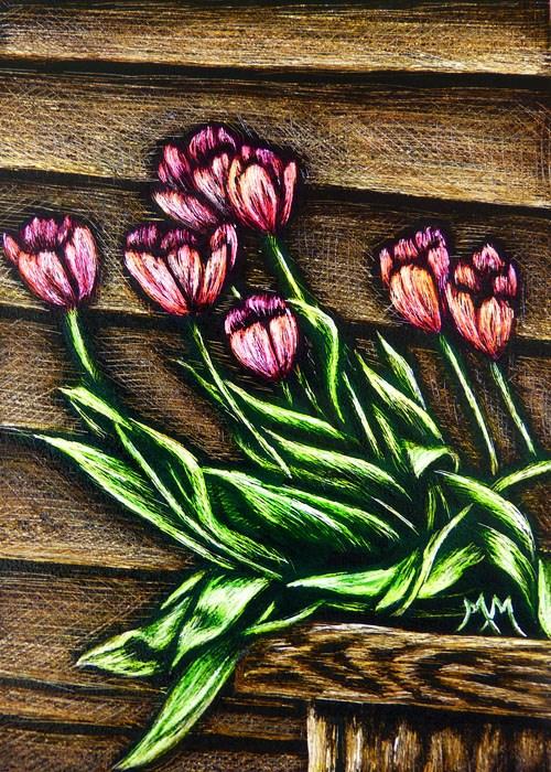 """""""Spring Tulips  - SA103"""" original fine art by Monique Morin Matson"""