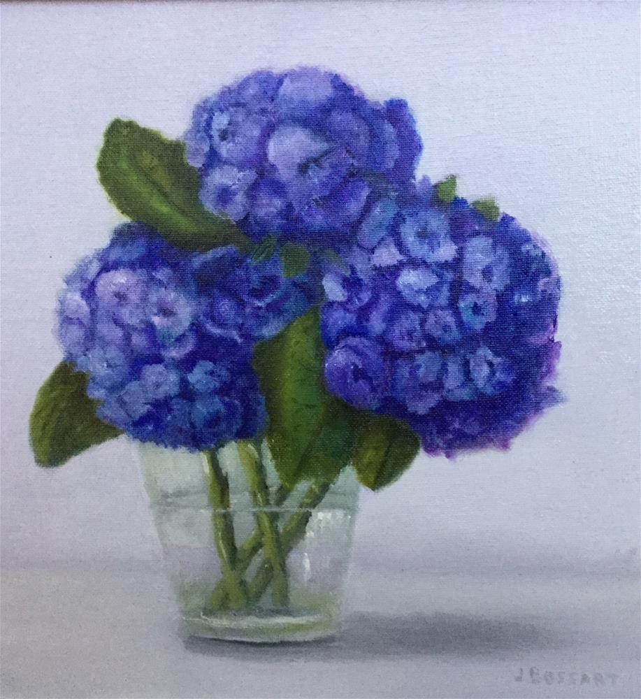 """""""Blue Hydrangeas"""" original fine art by Jeanne Bossart"""