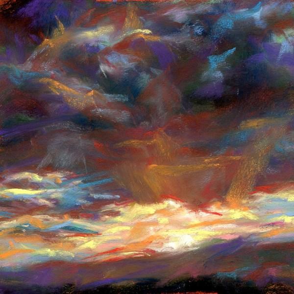 """DROP, BLAST, GLOW - 4 1/2 x 4 1/2 sky pastel by Susan Roden"" original fine art by Susan Roden"
