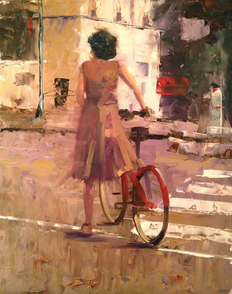 """Red Bicycle, Paris, 11x14"" original fine art by Ann Feldman"