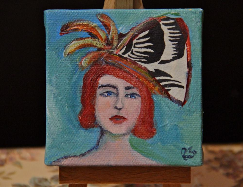 """Lovely Hat - #2 in series"" original fine art by Roberta Schmidt"