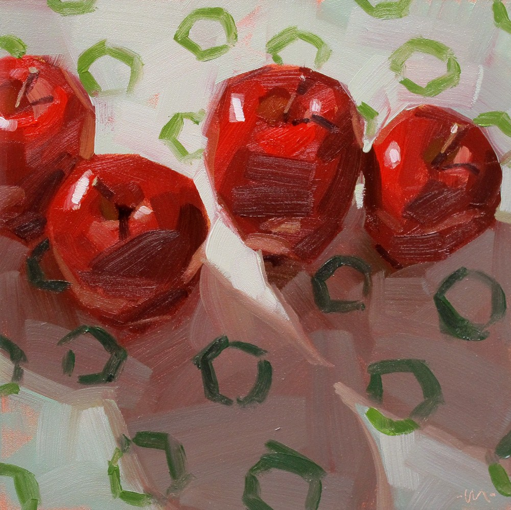 """Circles in Apple Shadows"" original fine art by Carol Marine"