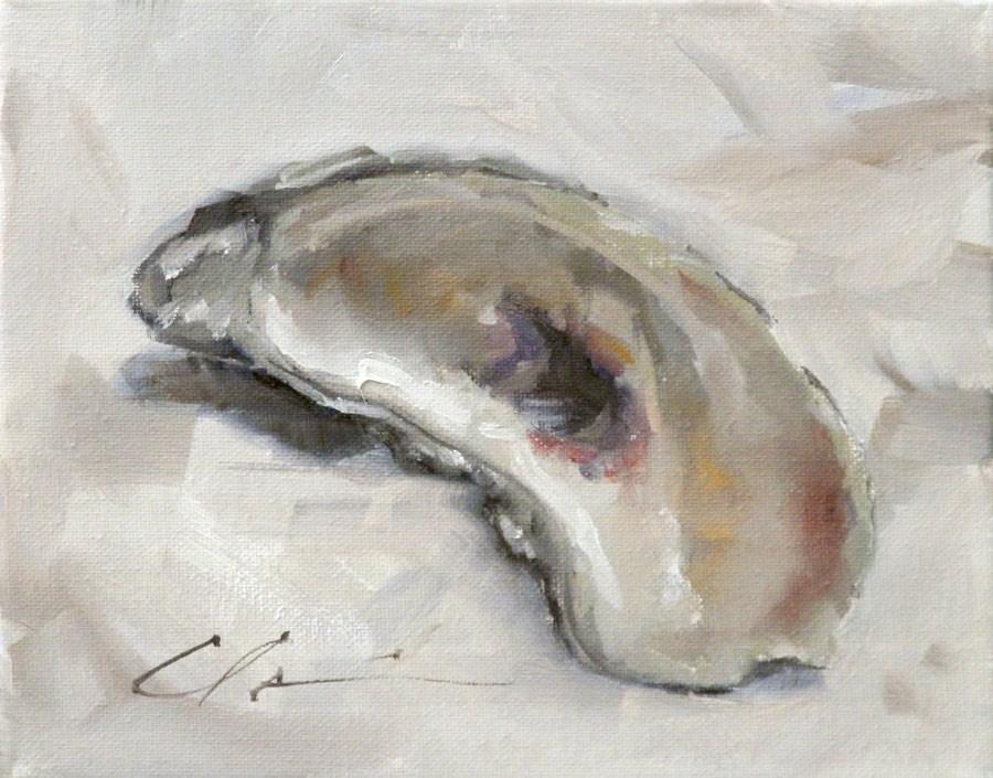 """""""Oyster Shell"""" original fine art by Clair Hartmann"""