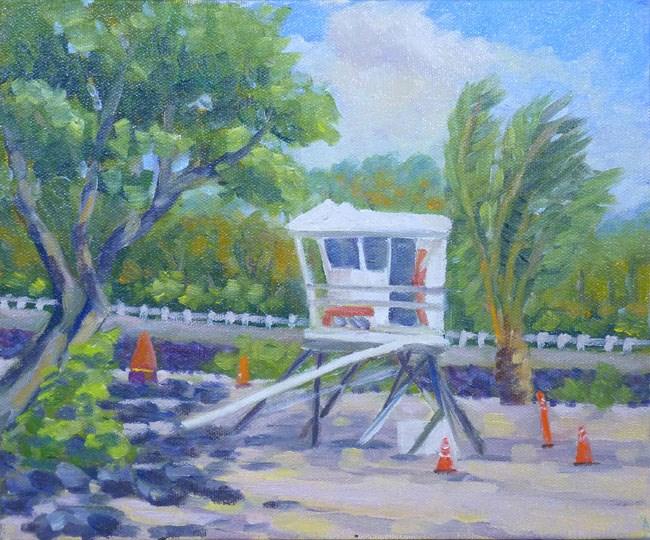 """""""Magic Sands Beach Lifeguard Tower """" original fine art by Stan Chraminski"""