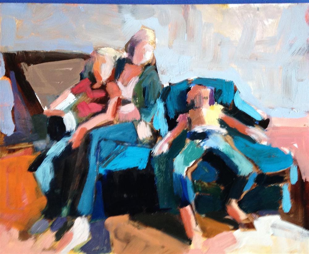 """""""Reluctant Sitter"""" original fine art by Pamela Hoffmeister"""