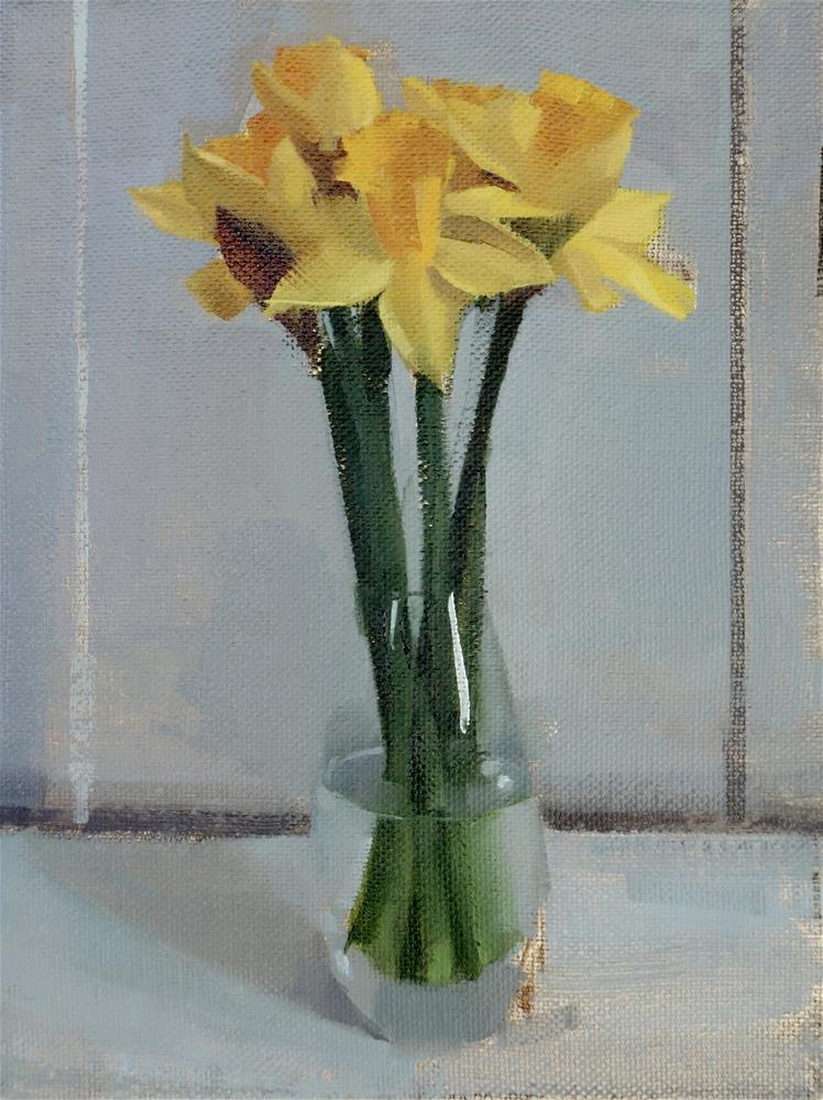 """Daffodils in Vase (no.123)"" original fine art by Michael William"