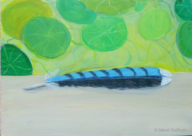 """Blue Feather with Nasturtiums painting"" original fine art by Maud Guilfoyle"