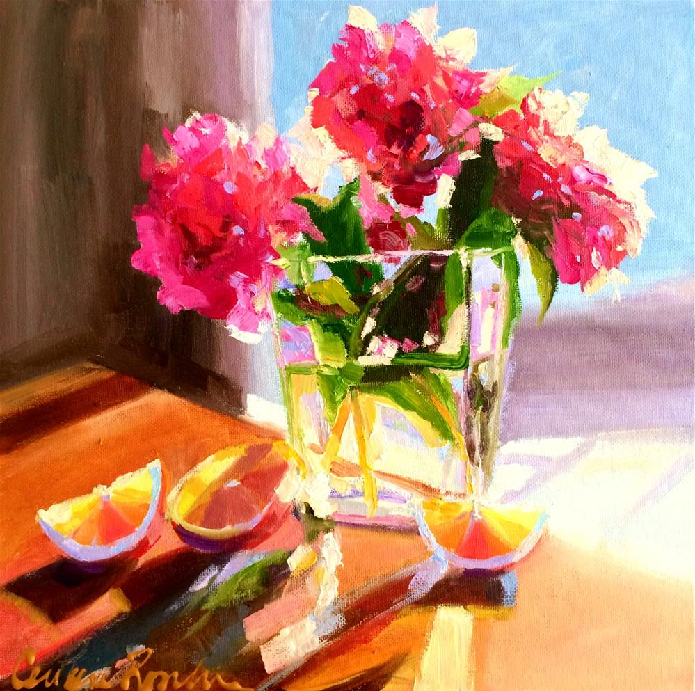 """CAMELLIAS AND LEMONS"" original fine art by Cecilia Rosslee"
