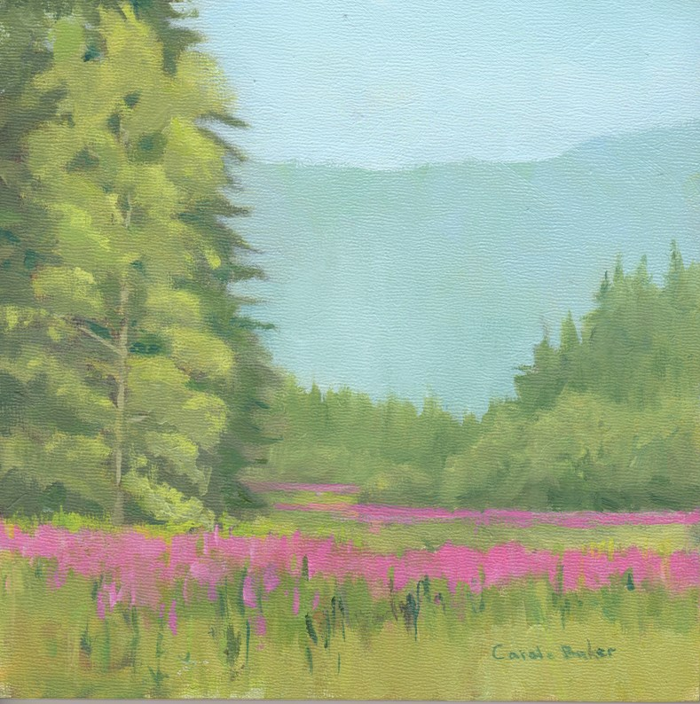 """Fireweed Across the River"" original fine art by Carole Baker"
