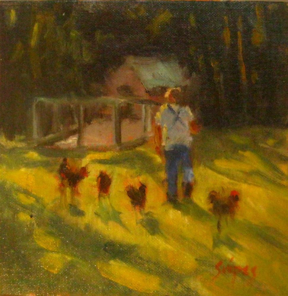 """Feeding the Chickens"" original fine art by Connie Snipes"