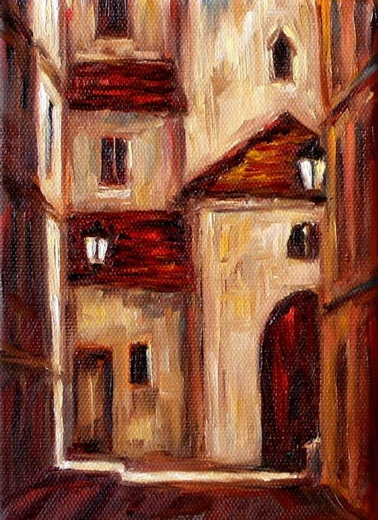 """Corner of Old Prague"" original fine art by Irina Beskina"