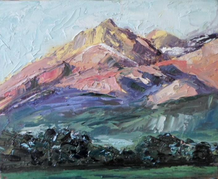 """8 x 10 inch oil Mountain Vista"" original fine art by Linda Yurgensen"