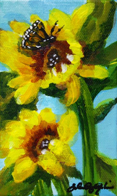 """Sunflowers and Friend"" original fine art by JoAnne Perez Robinson"