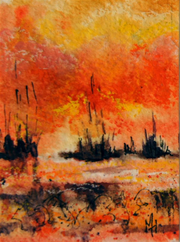 """""""Fire Swamp 1 ACEO"""" original fine art by Marion Hedger"""