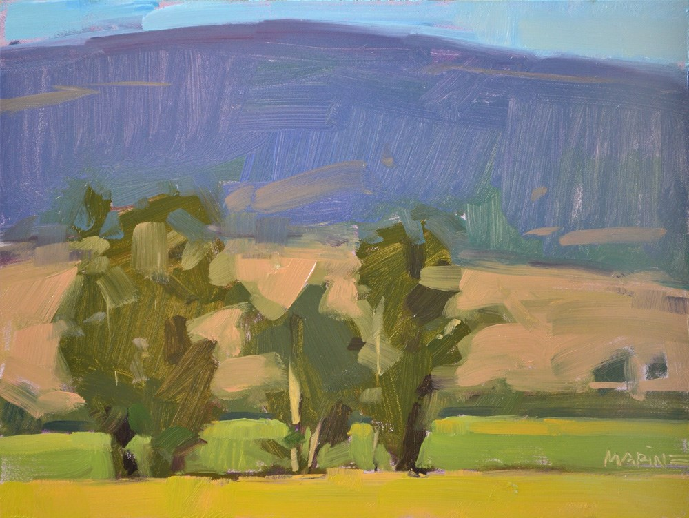 """Three Trees in a Field"" original fine art by Carol Marine"