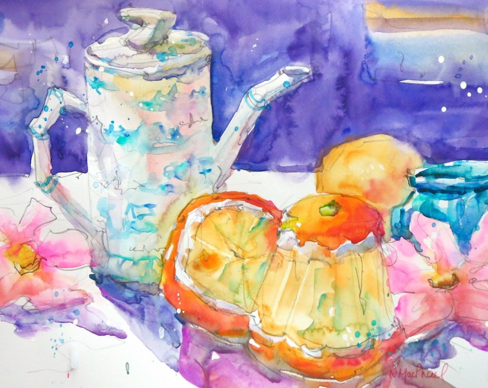 """tea party"" original fine art by Nora MacPhail"