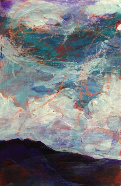 """""""PURPLE MOUNTAINS - 3 1/4 x 2 1/4 pastel + acrylic landscape by Susan Roden"""" original fine art by Susan Roden"""