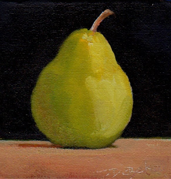 """pear"" original fine art by V. DeBak"