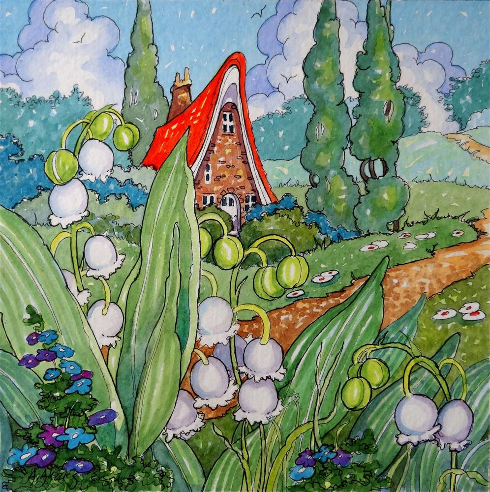 """""""Lily of the Valley Cottage Storybook Cottage Series"""" original fine art by Alida Akers"""