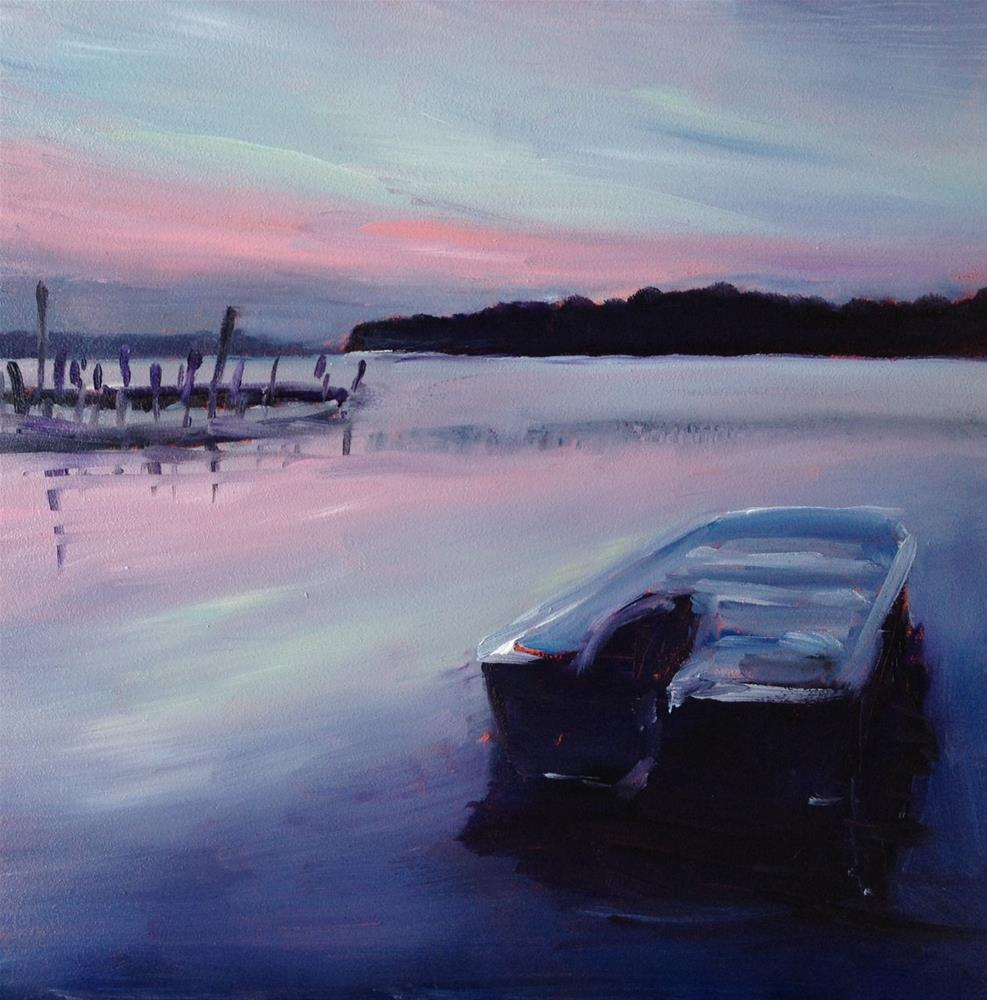 """Quiet River Evening"" original fine art by Claudia L Brookes"